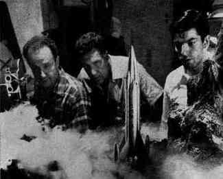 Leo Russell, Alex Haberstroh and Harry Persanis filming Captain Video special effects.